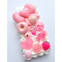 Kawaii Cute Decoden Girly Pastel Pink Cat Skull Heart Bow Flower Candy... (81 PEN) ❤ liked on Polyvore featuring accessories, tech accessories, phone cases, phone, iphone cases, phone cover, pictures, animal iphone cases, cat iphone case and apple iphone case