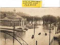 REAL PHOTO POSTCARD VIEW MARIETTA POST OFFICE FRONT ST 1913 FLOOD MARIETTA OHIO