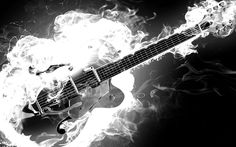 Electric Rockabilly Guitar on Fire - Monochrome Black and White Smoke Flames