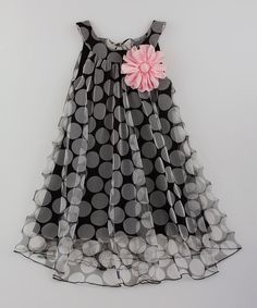 Look at this Mia Belle Baby Black Pink Flower Swing Dress - Toddler Girls on - Kids Fashion Frocks For Girls, Toddler Girl Dresses, Little Girl Dresses, Girls Dresses, Toddler Girls, Party Dresses, Girls Frock Design, Kids Frocks Design, Fashion Kids
