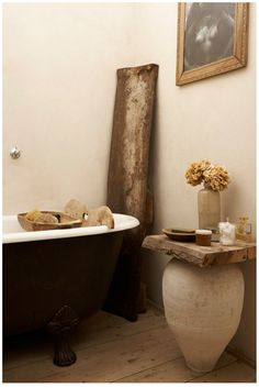 vintage pieces create a sanctuary bathing space. the old ceramic vase, claw foot tub & all. by Sanctuary: bathroom ☂ Beautiful Bathrooms, Modern Bathroom, Master Bathroom, Bathroom Table, Natural Bathroom, Bathroom Vintage, Wood Bathroom, Dream Bathrooms, Bathroom Furniture