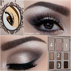 "Too Faced Cosmetics Natural Eye   cards. 1.) prime eye w/ urban decay primer potion; & apply 'NDE BEACH' #4 on lid and also on tear ducts 2.) blend 'PUSH-UP' #2 through crease 3.) apply 'EROTICA' #3 on outer crease forming a ""V"" and also smudge on lower lash line 4.) highlight w/ 'HEAVEN' #1 on brow bone 5.) apply Stila onyx pencil on top liner w/ angel brush ..."