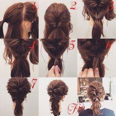 ミディアムアレンジ★ 1,横と後ろを分け後ろは耳より上の髪を結びます 2,後ろをくるりんぱします 3,後ろの下の髪を2番の毛先の上で結びます 4,くるりんぱします。ゴムを締めると2番の毛先が中に入る感じになります 5,横の髪を2番のくるりんぱと4番のくるりんぱの間で結びます 6,くるりんぱの要領で2回ねじります 7,6番の毛先を4番のくるりんぱに入れます Fin,崩したら完成です マジェステを使ったアレンジ✨ 参考にしてみてください^ ^ Fancy Hairstyles, Wedding Hairstyles, Medium Hair Styles, Long Hair Styles, Flat Iron Curls, Hair Arrange, Hair Setting, Grunge Hair, Hair Day