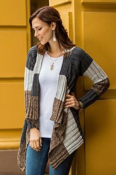 Brown and Grey Alpaca Blend Open Front Cardigan Sweater d82b0609007e