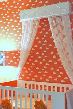 Colorful Orange Nursery with Cloud Decals - Project Nursery Orange Nursery, Bright Nursery, Clouds Nursery, Jungle Theme Nursery, Whimsical Nursery, Girl Nursery, Nursery Design, Nursery Decor, Nursery Ideas