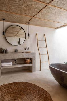 There is a type of people who, during the winter hype, love to escape to warmer places, where instead of knitted sweaters and warm hats, you will need shorts and swimsuits. The island of Bali is one…More Earthy Bathroom, Natural Bathroom, Small Bathroom, Balinese Bathroom, Balinese Decor, White Bathrooms, Vanity Bathroom, Luxury Bathrooms, Boho Bathroom