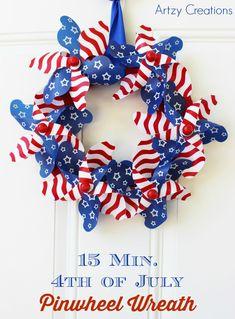 15 Minute DIY 4th of July Pinwheel Wreath Artzy Creations