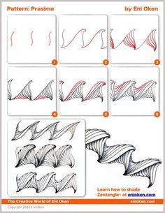 Learn to create amazing Zentangle® • enioken.com Prasima tangle pattern 1 of 3