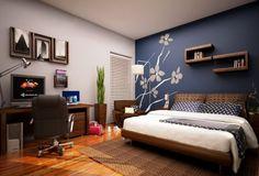 Romantic master bedroom paint colors romantic bedroom paint colors ideas lovely blue master bedroom paint color ideas home improvement neighbor fence Bedroom Wall Designs, Modern Bedroom Decor, Bedroom Ideas, Design Bedroom, Stylish Bedroom, Bedroom Pictures, Bedroom Styles, Contemporary Bedroom, Blue Accent Walls