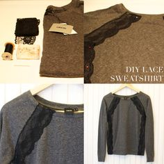 a pair and a spare . diy fashion: DIY JASON WU INSPIRED LACE EMBELLISHED SWEATSHIRT