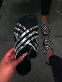 Flat With Rhinestone Cross Slip-On Slippers Pretty Sandals, Cute Sandals, Bling Sandals, Aesthetic Shoes, Fashion Sandals, High Heel Boots, High Heels, Womens Slippers, Slip On