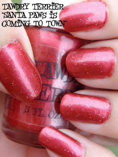 """@Tawdry Terrier """"Santa Paws Is Coming To Town"""" in the sun - available November 20 at https://www.etsy.com/shop/TawdryTerrier.  #nailpolish #indienailpolish #tawdryterrier #christmas"""