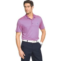 Men's IZOD Classic-Fit Striped Performance Golf Polo, Size: Medium, Pink