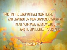 Proverbs 3:5-6 Trust in the LORD with all thine heart; and lean not unto thine own understanding.  In all thy ways acknowledge HIM and HE shall direct thy paths.