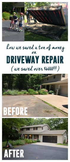 How To DIY Asphalt Driveway Sealing : Costs and Process - Asphalt Costs DIY .How To DIY Asphalt Driveway Sealing : Costs and Process - Asphalt Costs DIY Ideas Backyard Fence Privacy Driveways For Repair Concrete Driveway, Driveway Paint, Driveway Sealing, Diy Driveway, Gravel Driveway, Driveway Design, Concrete Driveways, Driveway Landscaping, Backyard Fences