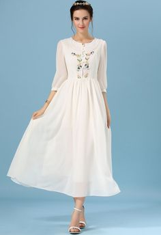 With Buttons Embroidered Vintage Chiffon Dress 28.00  *-* I want to get married in a dress like this with a flower crown on my veil.