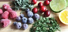A selection of fruits and herbs for making infused waters
