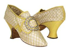 Yellow silk shoes with buckles, French, c. 1760's. @Laura McAbee Shoe Museum #batashoes