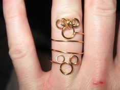 Wire Wrapped Minnie and Mickey Knuckle or Regular Size Ring MADE to ORDER