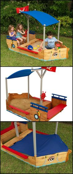 http://amzn.to/20wUjrd There are many DIY sandbox or sandpit ideas out there that you can make for your kids. We've even featured some of them in the past. But if you don't have time to build one yourself, here's a Pirate Sandboat that you can get them instead! This awesome Pirate Sandboat is large enough for your kids to play in with their playmates.   It has two convenient storage compartments for keeping all their sand toys in one place. And it includes a shady canopy.