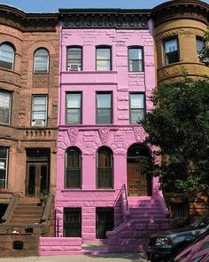 This Brooklyn brownstone was painted pink by it's elderly owner many years ago because it was his wife's favorite color!