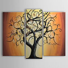 Hand-painted A Big Tree,abstract Oil Painting with Stretched Frame - Set of 3