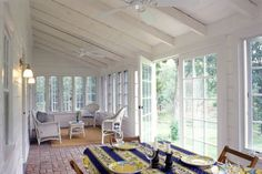 Closed in Porch Ideas | For a porch, brick flooring is perfect as it's a great material for ...