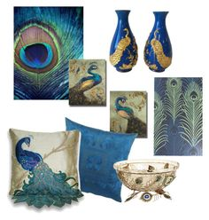 Peacock colors by wendycecille on Polyvore featuring polyvore, interior, interiors, interior design, home, home decor, interior decorating, Thro, Matthew Williamson, Frette and Pier 1 Imports