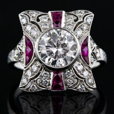 1.73 Carat Diamond and Ruby Art Deco Style Ring