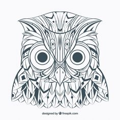 Hand drawn ethnic abstract owl Free Vector