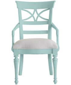 Stanley Furniture » Aqua Dining Chairs » Coastal Living Cottage - Sea Watch Arm Chair, Seaside Sea Glass Fabric