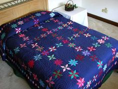 Navy and Multicolor Starry Path Quilt  Amish Country Quilts