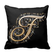 Elegant diamonds monogram F pillow