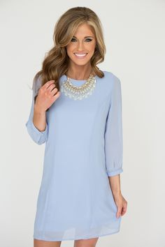 3/4 Sleeve Zip Back Dress - Dusty Blue - Magnolia Boutique