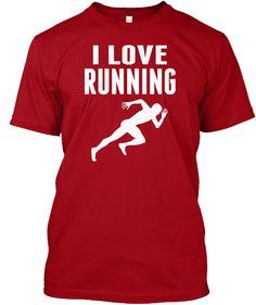 I Love Running Deep Red T-Shirt