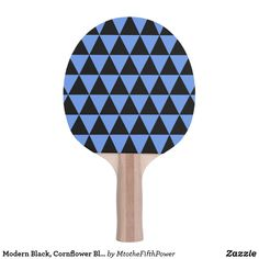Modern Black, Cornflower Blue Geometric Triangles Ping Pong Paddle by M to the Fifth Power Ping Pong Table Tennis, Ping Pong Paddles, Triangles, Modern, Blue, Design, Trendy Tree, Triangle Shape