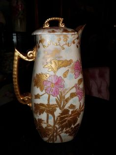 """Antique Limoges Coffee Pot Signed """"E.R.T."""" Raised paste, jeweling, heavy gold."""