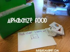 Alphabetize Food Photos Work Task {Combine Academic and Functional Skills} by theautismhelper.com