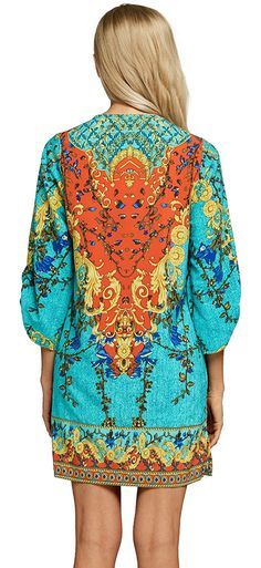 88033518 StellarChic Women Bohemian Neck Tie Vintage Printed Beach Summer Shift  Dress Caribbean Breeze >>> Details can be found by clicking on the image.