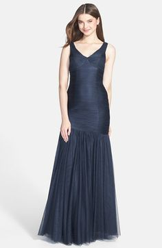 I liked this until I actually saw it zoomed in... wtf is with the boobs? it looks like they're utility pockets. - ML Monique Lhuillier Bridesmaids Tulle Trumpet Dress available at #Nordstrom