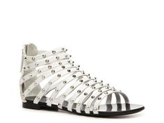 Giuseppe Zanotti Leather Gladiator Flat Sandal   DSW
