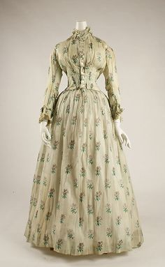 Dress Date: 1841–45 Culture: American Medium: cotton Dimensions: (a) Length at CB: 17 1/2 in. (44.5 cm) (b) Length: 43 1/2 in. (110.5 cm) Credit Line: Gift of Mrs. F. N. Crosby, 1948