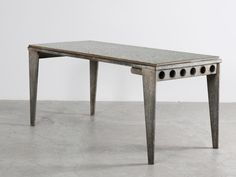 REFECTORY TABLE WITH STREAMER LEGS, 1939 GALVANIZED STEEL SHEET AND GRANIPOLI TABLE TOP 73 x 160 x 70 cm