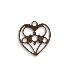 Vintaj Brass Filigree Heart Charm Antiqued Brass Ox Pendant Delicate Vintage Style Focal 19 x 18mm Qty 1