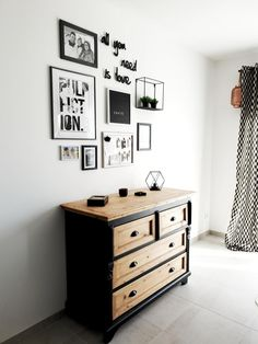 Discover recipes, home ideas, style inspiration and other ideas to try. Creative Wall Decor, Creative Walls, Rustic Wooden Shelves, Black And White Frames, Dresser As Nightstand, Sweet Home, Gallery Wall, New Homes, Room