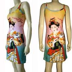Japanese Geisha with Sensu New Japan Art Print Dress Misses S M L XL P&N #PN #StretchBodycon #Casual #Geisha #Dress #Japanese #Art