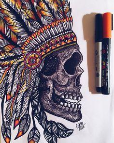 """202 Me gusta, 6 comentarios - C G O M E Z • A R T (@cgomez.art) en Instagram: """" • • • • • • • • • • • • • • • #art #arte #indianskull #indianskulltattoo #skull #tatto #ink…"""""""