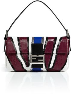 Fendi Sequined Baguette Bag in Bordeauxnatural White in Red (bordeaux) -  Lyst Lady In 78c3355473