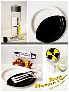 """Retro Rocket Ship Space Birthday Party! - Spaceships and Laser Beams. VOSS water bottles with """"fuel tank"""" labels.  liquid flavoring (could be Kool-aid or juice concentrate) in """"plutonium"""" test tubes."""