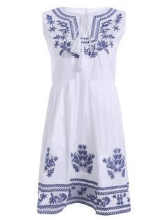 Blue and White Embroidery Lace Up High Waist Dress #Bohemian #Style #Dresses